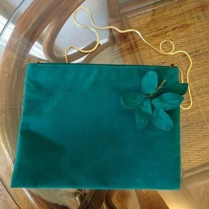 Vintage Reva Ultra Sued Teal Turquoise Purse Bag